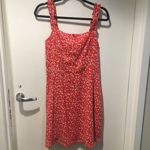 Aqua sleeveless red and white floral print dress